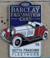 BARCLAY FASCINATION CARS '92 - ISOTTA FRESCHINI - FLEETWOOD - VOITURE-  BLEU - Pin's