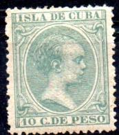 "1890 ""Baby"" Key-type -10c. - Green   MH - Cuba (1874-1898)"