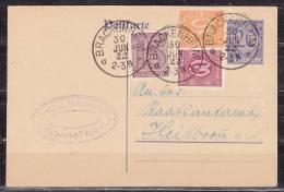 DP 2 + ZF Ziffern, Evangel Volksschule Haberschlacht, Ueber Brackenheim Nach Heilbronn 1922 (60941) - Ganzsachen