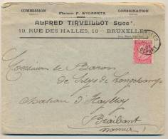 _2n434:omslag/ N° 58-tab: BRUXELLES DEPARt > CINEY 01> ...Baron De Selys Habay... - 1893-1900 Schmaler Bart