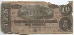 $10 Confederate CSA Note February 17, 1864 Damaged GENUINE - Devise De La Confédération (1861-1864)