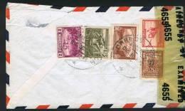 1942?  Censored Air Mail Letter To USA   SC 487, C68, C71, RA 48, RA49 - Ecuador