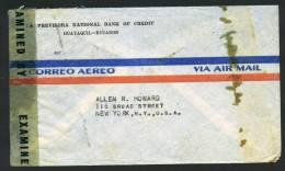 1943  Censored Air Mail Letter To USA   SC 380, 487,  C71, RA49 , RA54 - Ecuador