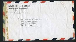 1943  Censored Air Mail Letter To USA   SC 380, 487,  C71, RA49 , RA53 - Ecuador