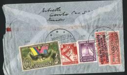 1940  Air Mail  Letter To USA  Sc 375, C59, C85, RA44, RA45 - Ecuador