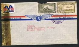 1943  Censored Air Mail Letter To USA  Sc  C87, C139 (damaged) - Venezuela