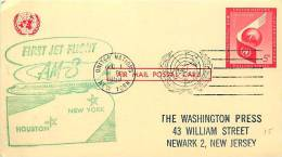 1959  American Airlines First Jet Flight New York - Houston  On UXC3  Postal Card - New York – UN Headquarters