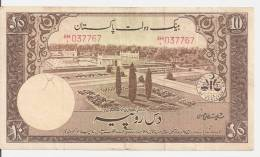 PAKISTAN 10 RUPEES  ND1953 VF P 13 - Pakistan