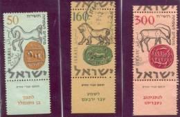 1957 New Year (5718)  Bale 144-6 / Sc 129-31 / Mi 145-7 TAB Gestempelt/oblitere/used [gra] - Israel
