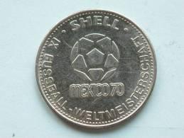 SHELL IX FUSSBALL WELTMEISTERSCHAFT MEXICO 70 / HELMUTH SCHÖN ( Zilverkleur - For Grade And Details, Please See Photo ) - Jetons & Médailles