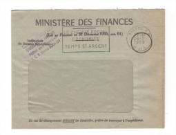 France: Lettre Du « Ministère Des Finances » à Fenêtre, Franchise Civile De 1959, D'Angers, Avec Flamme SECAP - Marcophilie (Lettres)