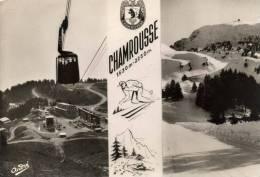 38 CHAMROUSSE  , Téléphérique , Ski , Neige    105x150 Dentelée , Glaçée , Timbrée 1956 - Chamrousse