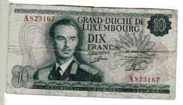 BILLET LUXEMBOURG - P.53 - 10 FRANCS - 1967 - GRAND DUC JEAN - PONT GRANDE DUCHESSE CHARLOTTE - VILLE - Luxembourg