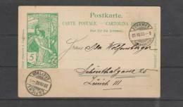 Entier Postal Du 20/07/1900 De Zurich Vers Zurich - Entiers Postaux