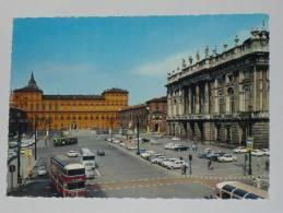 TORINO Storica - Palazzo Reale E Madama - Animata - Auto Corriera Doppio Autobus - Italia