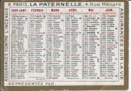 CALENDRIER 1929 - 9.3 X 6.5 Cm - Petit Format : 1921-40