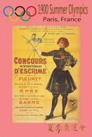 (NZ19-022 )  Fencing , 1900 Paris  , Olympic Games , Postal Stationery-Postsache F
