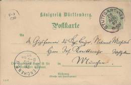 Königreich Wuertemberg Von Stuttgart N. München 28.Aug.1897 (pk K Wuertt 7) - Allemagne