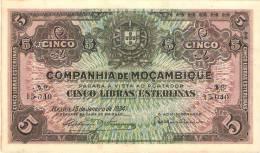 MAZAMBICO 5 LIBRAS 1934 PICK R32 AUNC - Mozambique