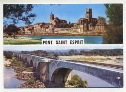 CPM - PONT-SAINT-ESPRIT (30) Les églises Saint Pierre Et Saint Saturnin - Le Pont Contruit En 1265 - Pont-Saint-Esprit