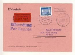 DDR -  1988 , Express-Rückschein LEIPZIG , Extrem Seltene Einzelfrankatur Auf Einem Rückschein Für Das Express-Porto ! - Post