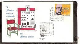 ITALIA ITALY STORIA POSTALE 1972 BOLLO GULLER CORTONA   AREZZO  ANNULLO MANIFESTAZIONE SERVIZI DISTACCATI - 1971-80: Marcofilie