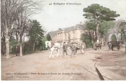 22 SAINT BRIEUC Palais De Justice Et Entree Des Grandes Promenades (attelages ) Colorise - Saint-Brieuc