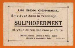 BUVARD : Un Bon Conseil  SULPHOFERMENT Employé Dans La Vendange Identique Recto Verso - Liquor & Beer