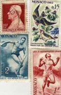 Lot De 4 Timbres - 15 F Oblitéré  -  O.15 Fr Oiseaux 1962 Et Jeux Olympiques 1948 2f Et 1f Neuf Avec Chanière Au Dos - Monaco