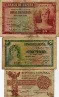 Lot - 1 Pta. 1937 B0631556  - 5pta.1935 A 4,503,586 - 10 Pta. 1935  A 0,838,377 - Spain