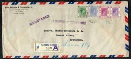 1947 HONG KONG REGISTERED COVER BUSTA BRIEF ENVELOPPE CIRCULATED TO ARGENTINA - Briefe U. Dokumente