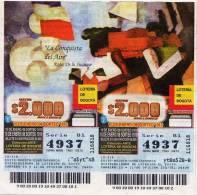 Lote 708, Colombia, Loterias Con Temas De Arte, Lottery Art Themes, Roger De La Fresnaye, La Conquista Del Aire - Billetes De Lotería