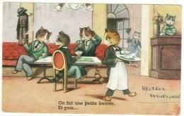 """Carte Postale Chats Humanisés Dans Un C Jeu De Cartes """"On Fait Une Petite Belotte, Et Puis..."""" Serveur Anthropomorphisme - Katten"""