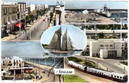 Tunisie, Sousse, Multivues ( Av. Président Bourguiba, Place F. Hached, Port, Autorail, ...) - Tunisie
