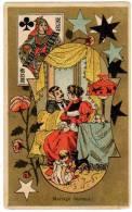 Chromo Moka Leroux / Carte à Jouer, Dame De Treifle (Argine), Couple (Mariage Heureux) - Thé & Café