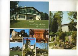 3 CPM - ARCANGUES (64) Le Cimetière, L'église (extérieur, Intérieur) Vue Générale, La Place, Belle Maison Basque - France