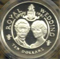 CAYMAN ISLANDS $10 DIANA & C. WEDDING FRONT QEII HEAD BACK AG SILVER 1981 KM68a PROOF READ DESCRIPTION CAREFULLY !!! - Cayman Islands