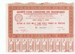 SOCIETE POUR L'INDUSTRIE DES TRANSPORTS - Action De 2500 Francs Au Porteur - Actions & Titres