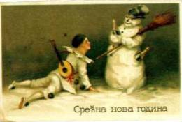 PIERROT   CLOWN  Costume    SNOWMAN     Old Postcard - Other