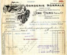 FACTURE 75 PARIS RUE DES LOMBARDS USINE A MONTREUIL SOUS BOIS CORDERIE BOURRELLERIE - Agriculture