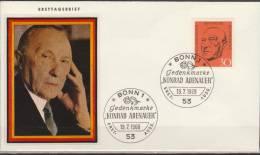 Deutschland, Germany, 1968, Europe, Konrad Adenauer, FDC - Idee Europee