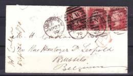 Envp De 1870 En Bande De Trois Timbres Vers La Belgique  Cachet  Rouge PD - Storia Postale
