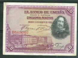 Billet De 50 Pesetas , Qualité  6/ 10 - Ai6801 - [ 1] …-1931 : Eerste Biljeten (Banco De España)