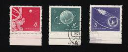 VR-China  1958   407-09   (Start Des Sputniks)   Unterrandstücke Gestempelt O - 1949 - ... República Popular