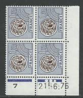 Préo 145 XX  Monnaie Gauloise : 1 F.70 En Bloc De 4 Coin Daté Du  21 . 6. 76  ;  3  Points  Blancs Sans Charnière, TB - Vorausentwertungen