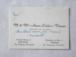 Mr Et Mme Alexis Califice - Pâques. Déchets De Laines. Dolhain. Viemme - Cartes De Visite