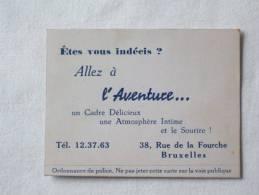 """""""L'Aventure"""". Atmosphère Intime. Rue De La Fourche Bruxelles - Cartes De Visite"""