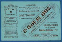 1902 - GRANDE CARTE DOREE BRUXELLES - GRAND BAL PARE MASQUE & TRAVESTI Au Bénéfice Caisse Retraite - Documents Historiques