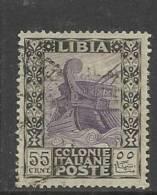 LIBIA 1921 PITTORICA FILIGRANA CORONA 55 C TIMBRATO - Libia