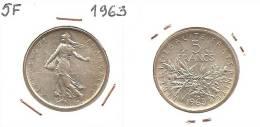 Lot Pièce 5 Francs Semeuse 1963 Argent SUP - J. 5 Francos